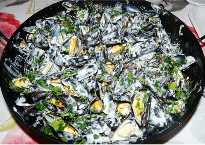 Moules au Roquefort sans vin / sans alcool